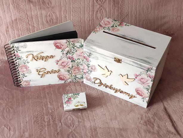 Pudełko na koperty i obrączki, księga gości, Różowe Róże.