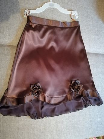 Spódniczka atłasowa czekoladowa roz 36