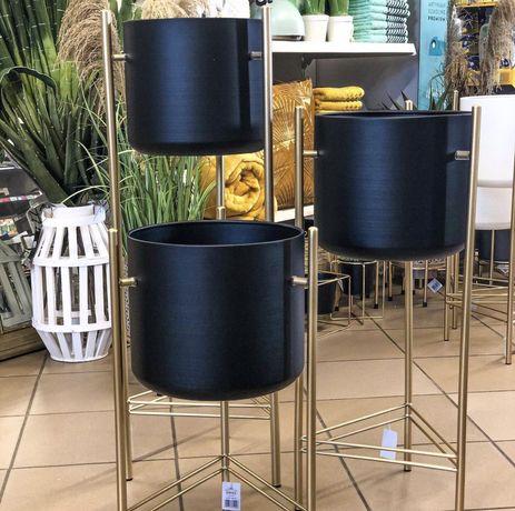 Wysoki nowy kwietnik 66 cm czarno złoty donica