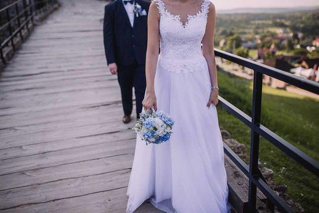 Suknia ślubna, wysoka panna młoda, muślin, biała