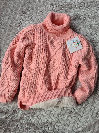 Golf sweter różowy ciepły futerko, misiek r. 110 zara h&m