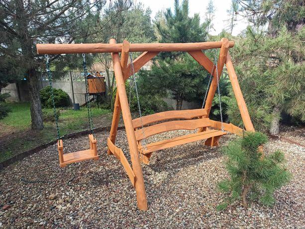 Huśtawka drewniana z dodatkowym siedziskiem