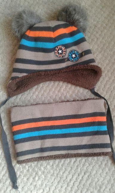 Шапка и снуд набор зима и шлем осень