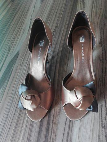 Buty szpilki złoto brąz 40 jak nowe wesele sylwester