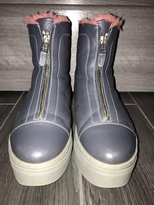 Зимние серые кожаные ботинки на меху р.38 by l.a.p.t.i Кременчуг - изображение 1