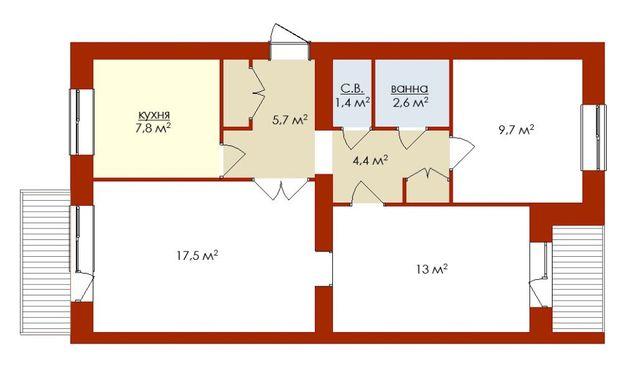 Продам 3-х кімн. квартиру (3/5 цегл.будинок) в центрі Умані, 45 тис.$