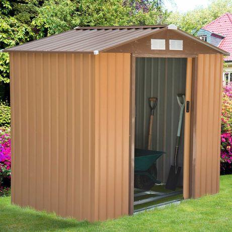 Abrigo de jardim de aço com porta deslizante e 213x127x185 cm marrom