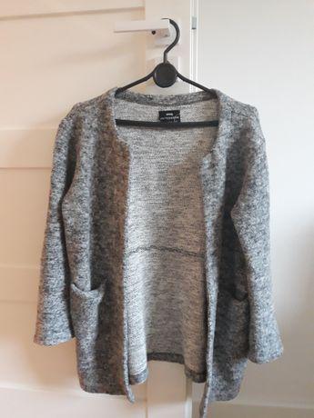 Sweter, kardigan, płaszcz, oversize, szary melanż, narzutka damska
