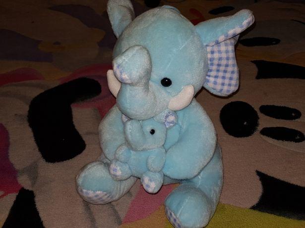 Niebieski słonik duży pluszowy słoń pluszak