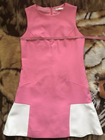 Розовое мини платье на подкладке без рукавов S- M размера