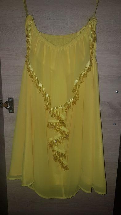 Sukienka żółta koraliki Iłowa - image 1