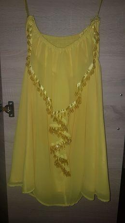 Sukienka żółta koraliki