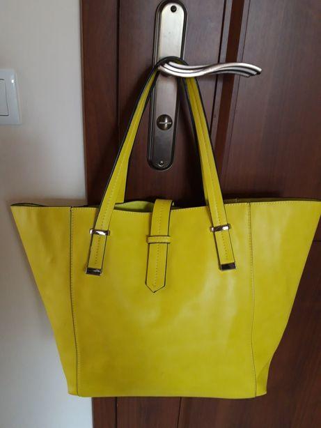 Shopper bag torba limonka Eco skóra wiosna lato
