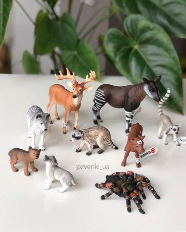 Schleich Шляйх фигурка окапи енот лемур олень паук волк лошадь