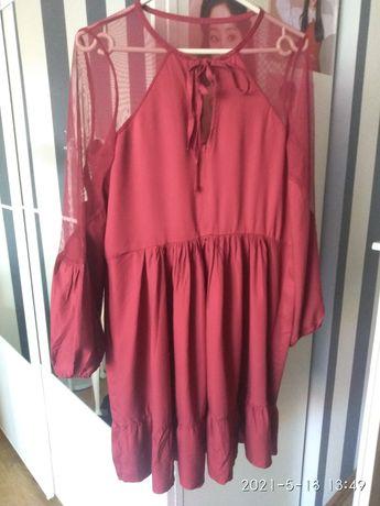 Megi sukienka z szyfonem, falbana uni