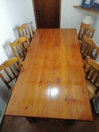 Mesa rústica 200x100 com 6 cadeiras