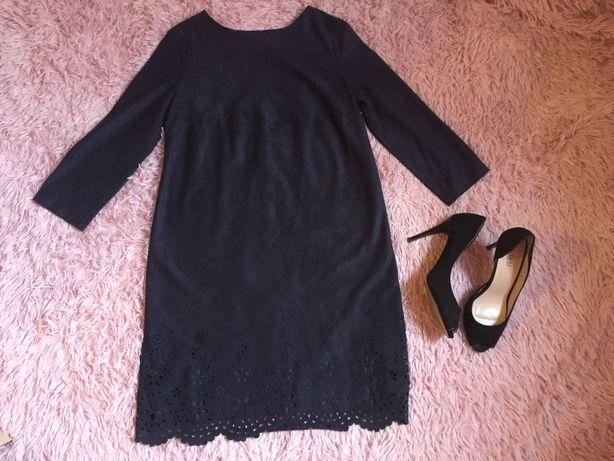Платье нарядное бархат. Темно-синее. Размер М