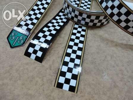 Fita xadrez autocolante motas antigas bicicletas
