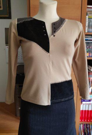 Kremowa bluzka Tom Thompson z czarnymi wstawkami, rozmiar 36