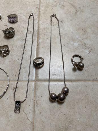 Anel e colar de prata