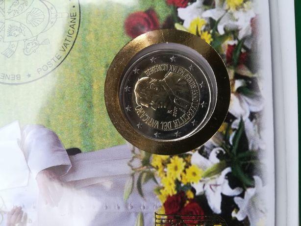 Moeda 2007 2 Euros Vaticano carteira envelope e selos
