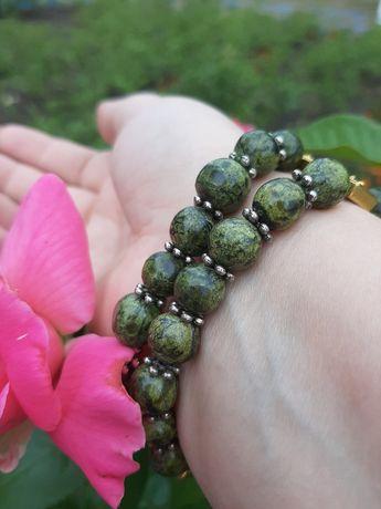 2-х рядный католический браслет из крупной зеленой яшмы