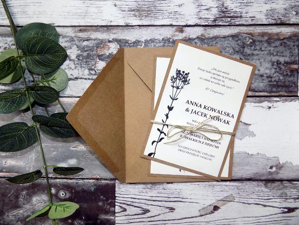 Zaproszenia ślubne rustykalne, eko, polne kwiaty
