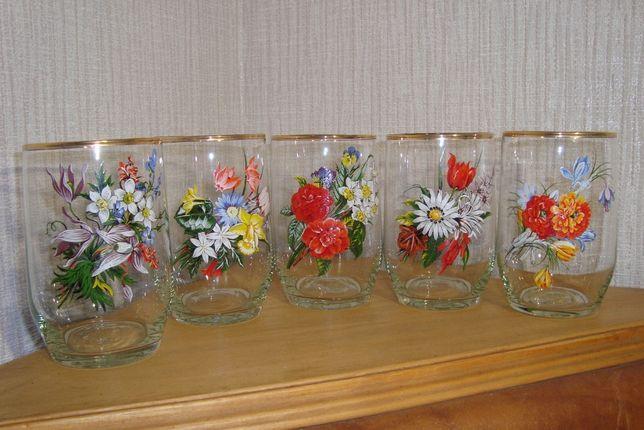 Набор стаканов с картинками - 5шт (стекло СССР)