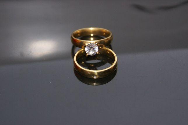 komplet obrączka plus pierścionek