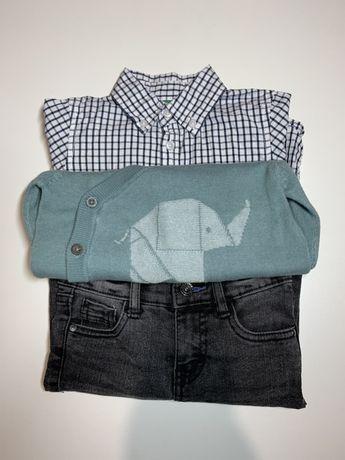 Комплект джинсы, рубашка, кардиган + подарок.  78-80см Benetton, Next