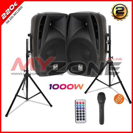 """Pack Amplificado 1000W Colunas 15"""" 2x500W Com Micro Bluetooth/USB/SD"""