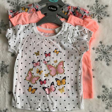 3 pak koszulek dziewczęcy Primark 62