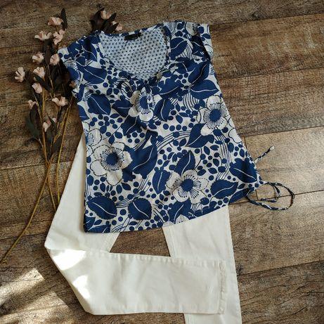 Блуза натуральная из котона,легкая белая с синим принтом от next-s-ка