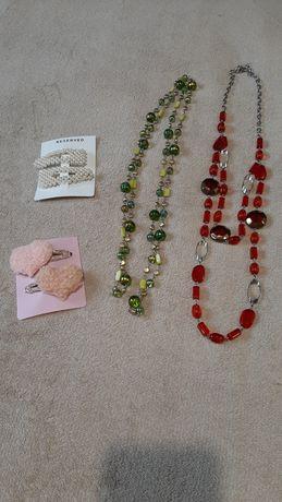 Ozdoby korale/naszyjnik/biżuteria/spinki czerwone/zielone Reserved
