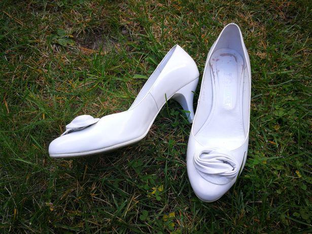 Białe szpilki ślubne buty skórzane szpilki 38