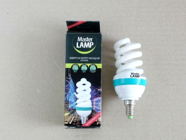 Лампа энергосберегающая, Master Lamp 13 W / 13 Вт Е14 2700К новая