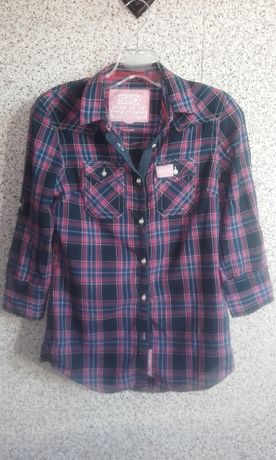 Koszula w kratę niebiesko różowa