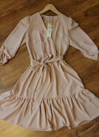 Sukienka pudrowy róz/beż  36