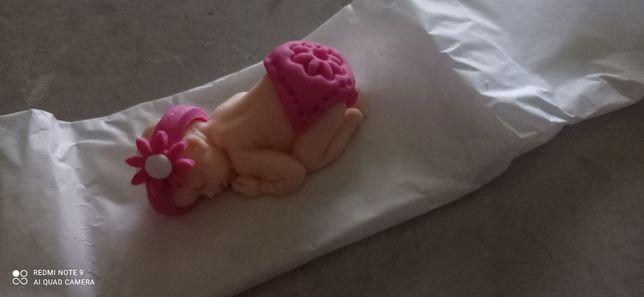 Dekoracja z masy cukrowej na tort dziewczynka chrzest nowa