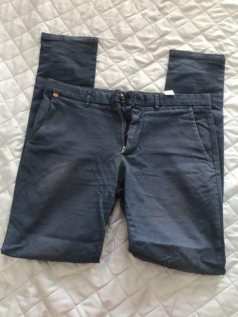 Eleganckie spodnie granatowe męskie chinosy S