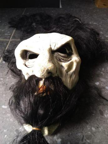 """Máscara """"Velho Feiticeiro com Cabelo e Barba"""", em Silicone-Halloween"""