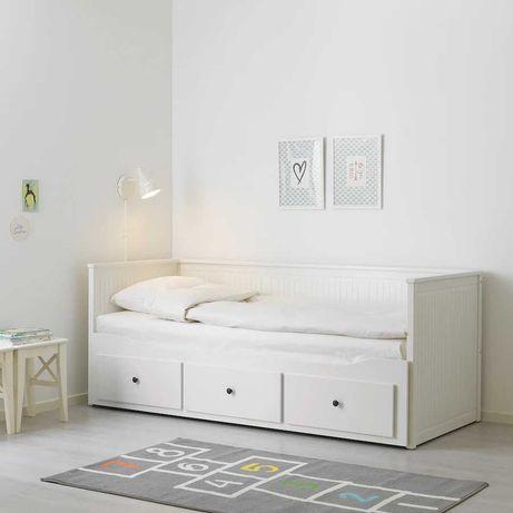 Łóżko Hemnes Ikea Rama leżanki z 3 szufladami, biały 80x200