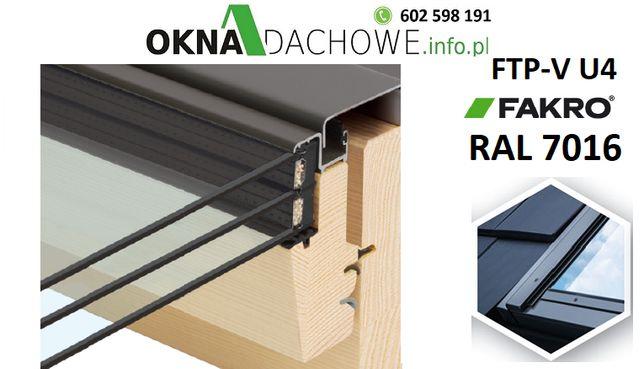 Okno dachowe antracyt FAKRO FTP-V U4 78x140 RAL 7016