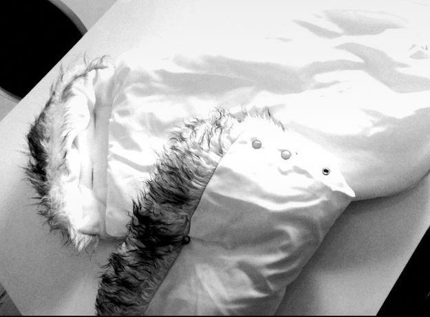 Komplet śpiwór i mufka-białe