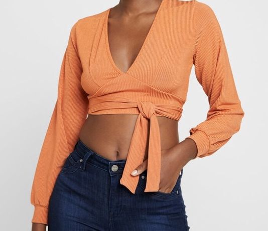 Pomarańczowy top bluzka, crop top krótki top XS, S