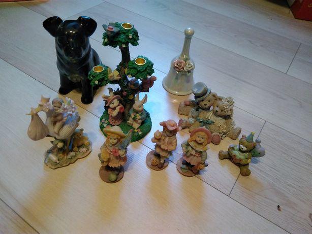 Figurki porcelanowe, gliniane, skarbonki, świecznik