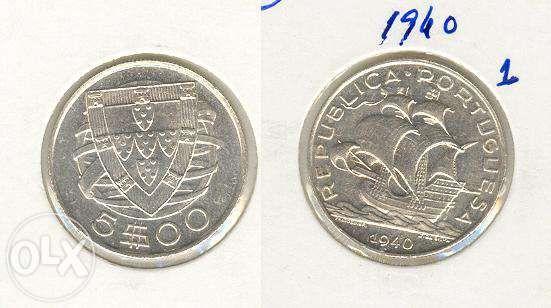 Moeda 5$00/40 Prata