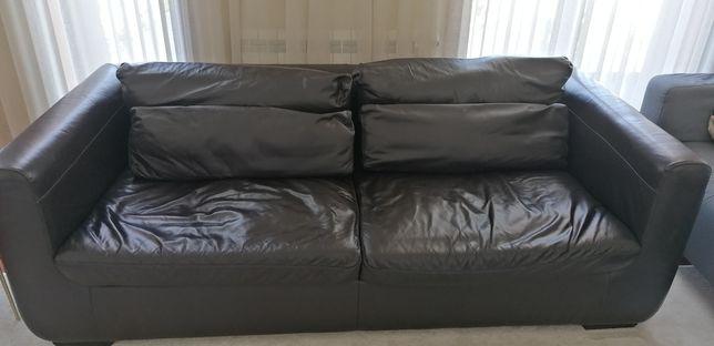 Sofa de pele verdadeira preto