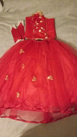Шикарное красное праздничное платье на девочку юбка+корсет+перчатки