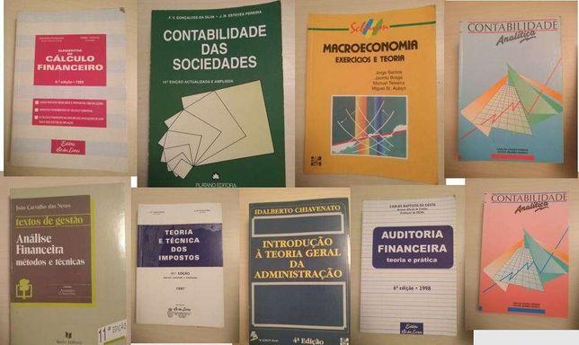 Vários livros de economia, auditoria e contabilidade
